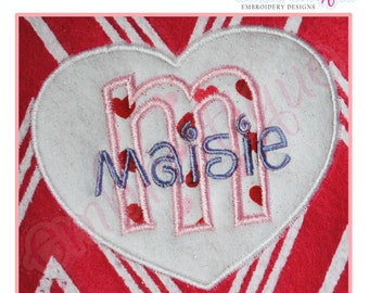 Heart Applique with Initials a-z- Instant Email Delivery Download Machine embroidery design