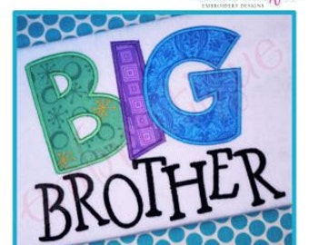 Big Brother Block Applique - Large- Instant Email Delivery Download Machine embroidery design