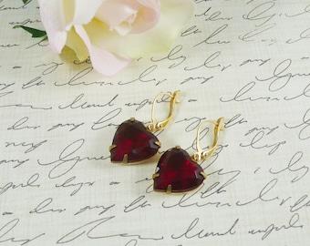 Red Heart Earrings Estate Style