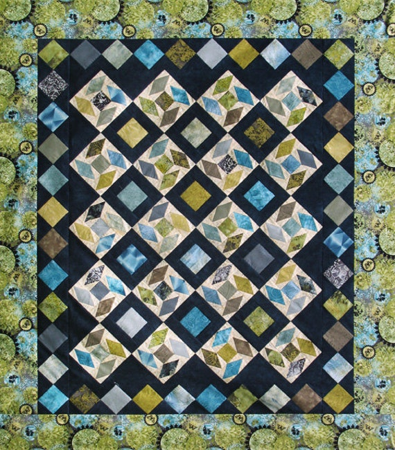 Sea glass quilt pattern from sewonthego on etsy studio for Window pane quilt design
