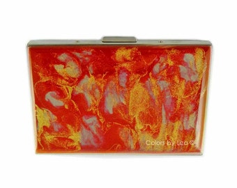 Accordion Wallet with Card Divider Hand Painted Enamel Red and Gold Quartz Inspired Metal Credit Card Case with Personalized Options