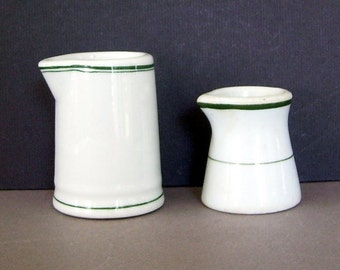 2 White Pottery Railroad Cream Pitchers, Milk Pitcher, Warwick China, Restaurant Pitchers, White Creamers Green Band, 1938 Serving Pitcher