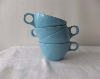 Vintage Coffee Cups Mugs Melmac Blue Retro Kitchen Tea Serving Dinnerware 1950s
