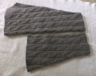 Felted Cashmere Sweater Arms Gray Cable Recycled Wool Remnants Material Fabric Sewing Crafts Upcycle
