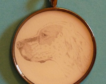 English Setter Original Pencil Drawing Pendant with Organza Pouch -Choice of Necklaces -Free Shipping- Desert Impressions