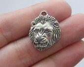 BULK 30 Lion pendants antique silver tone A38