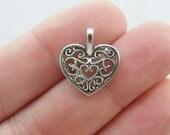 BULK 50 Heart pendants tibetan silver H94