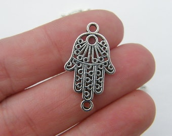 6 Fatima hand connector charms antique silver tone FH6