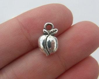 10 Peach charms antique silver tone FD208