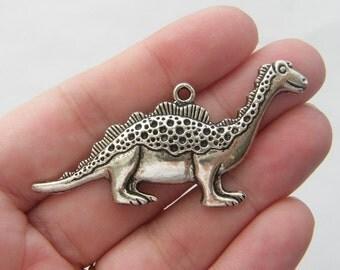2 Dinosaur pendants antique silver tone A178...