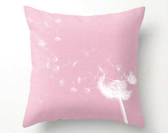 WINDBLOWN DANDELION pink weave design for home office or dorm, scatter cushion, novelty pillow, pillow cover, cushion cover, home decor