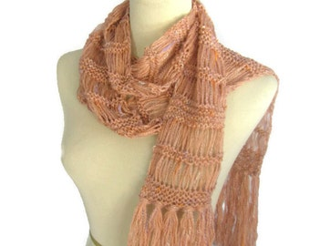 Coral Scarf, Hand Knit Scarf, Knit Scarf, Women's Scarf, Fashion Scarf, Orange Scarf, Gift For Her, Fiber Art