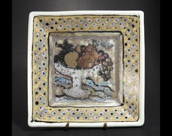 Majolica Ceramic  Plate -  Frut Basket in Brown - Handmade and Hand Painted by Boris Vitlin