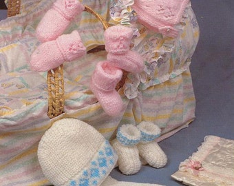 Baby Knitting PATTERN - Hats Bonnet, Helmet, Mitts and Bootees/Booties DK  Birth to 12 months PDF