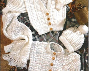 Baby Knitting Pattern - Cardigan/Sweater, Scarf and Hat 18 - 26 in chest DK