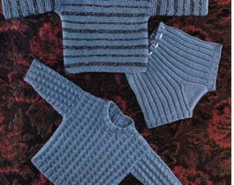 Baby Knitting Pattern PDF - Sweaters and Pants - Sizes 18 - 20 in chest (up to 2 years)