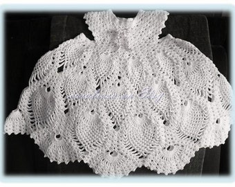 Baby Crochet Pattern - Child's Lacy  Pineapple Dress - Thread Crochet -  2-3 years Heirloom Christening Dress