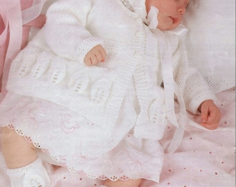 Vintage Style Baby Knitting Patterns 8PLY Light Worsted  - Jacket Hat & Bootees 18-20ins -