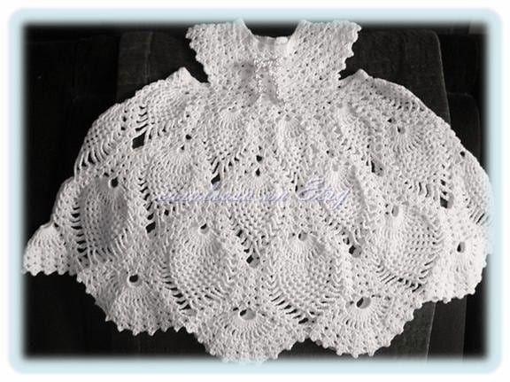 Baby Crochet Pattern Childs Lacy Pineapple Dress