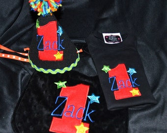 All Stars Rich with color 1st First Birthday Hat, Shirt and bib set