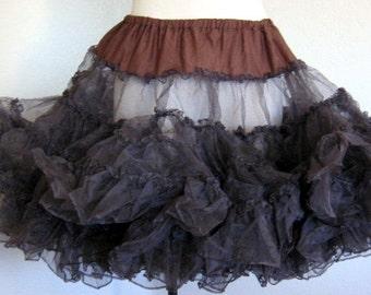 Vintage Dark Brown Crinoline Lace Petticoat, Slip, Skirt or Tutu Rockabilly, Square Dancing, Ladies Clothing, 1960's Mid Century Clothing