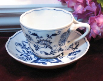 Vintage Blue Danube China Blue Cup and Saucer, 1960s Mid Century Porcelain China Dinnerware, Cup and Saucer Collection, Vintage Kitchen