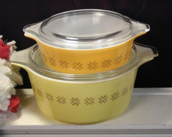 Vintage Pyrex Glass Town and Country Casserole Set Four Piece, Vintage Corning Ware, 1960s Mid Century, Glass Food Storage, Kitchen Cookware
