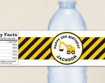 Construction Party - 100% waterproof personalized water bottle labels