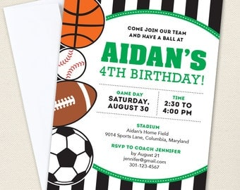 All-Star Sports Party Invitations - Professionally printed *or* DIY printable - Choose green, blue or red