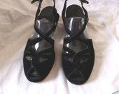 Great Black Velvet 1940s Wedge Sandals  Size 8