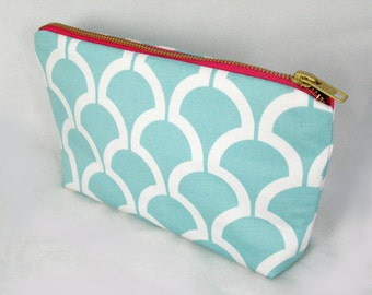Aqua Blue Scallop Zipper Clutch - Pink Metal Zipper