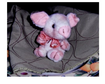 Artist designed piglet 4 inch Babie, imported vintage fabric. jointed, glass eyes,