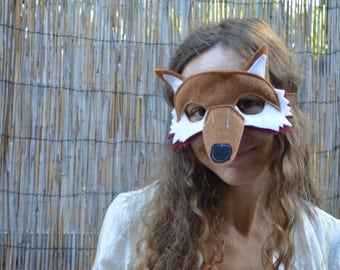 Fox Mask--Brown and Red