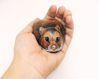Custom Pet Portrait- 3D- painted full stone, 3-4 in.- Hampster- or small Pet by Shelli Bowler