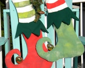 "ELF CHRISTMAS STOCKING 13""x21"" (33x52cm) hand-painted brass jingle bell striped tights Santa's helper Crabby Chris Original"