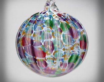 HAND BLOWN GLASS Christmas Ornament Suncatcher Ball Multi Color