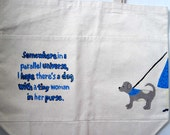 extra large canvas tote bag with hand painted dog design