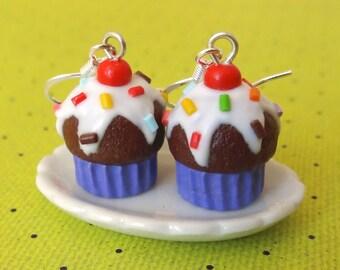 Grape cupcake earrings
