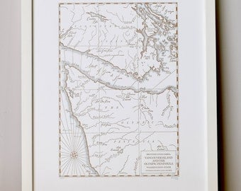 Vancouver Island and the Olympic Peninsula, Letterpress Printed Map (Cocoa)