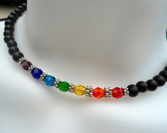 Chakra Choker Necklace Chakra Jewelry Yoga Jewelry  7 Chakra  Choker  Spiritual Jewelry Positive Energy Jewelry Hippie  Burning Man Bohemian