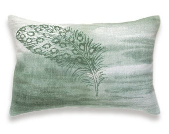 Bottle Green White Feather Print Lumbar Pillow Cover 12x18 inch Natural Linen One Of A Kind