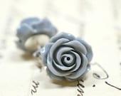 Gray Rose Earrings / Neutral Flower Stud Earrings / Grey Colored Jewelry / Retro Jewelry / Gray Earrings / The Rosie