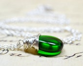 Emerald Green Wire Wrap Necklace / Modern and Minimalist Jewelry / Simple Everyday Jewelry / Dark Pine Green Drop
