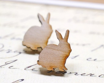 Wooden Rabbit Earrings, Laser Cut Wood Earrings, Bunny Earrings, Easter Bunnies, Wood Jewelry, Cute Animal Earrings, Vegan Jewelry