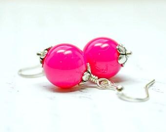 Begonia Pink Drop Earrings / Lightweight Magenta Dangles, Beaded Silver Earrings, Fuchsia, Dark Pink Violet