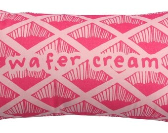 Pink Wafer Biscuit Printed Cushion / Biscuit Cushion - Cookie Pillow