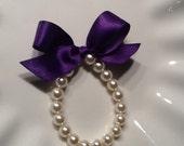 Girls Bracelet, Pearl with PLUM ribbon for flower girl gift, birthday gift, baby or girls photo prop