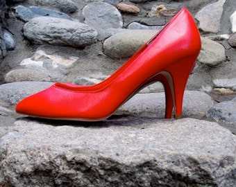 High Heels, Crayola Red, Shoes, Pumps, Vinyl, Vintage