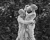 Romantic Europe Classical Statue in Paris Park Statuary Art Classic Black and White Photography Photo Print