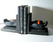 Bookends Hands Holding Fire Flames Unique Lamp Lights Wood Weird Book Ends Night Light Bookshelf Nightlight Library Shelf Lighting Modern